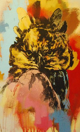 Jim Starr, Harpy Eagle, 2015, screenprint and mixed media on canvas, 50 x 30cm