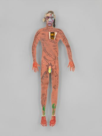 Jimmie Durham ( b. 1940), Self-portrait, 1986. Canvas, wood, paint, metal, synthetic hair, fur, feathers, shell and thread, 78 × 30 × 9 in. (198.1 × 76.2 × 22.9 cm). Whitney Museum of American Art, New York; purchase, with funds from the Contemporary Painting and Sculpture Committee 95.118
