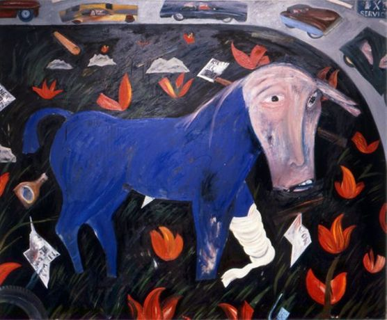 Jock McFadyen studio show: Horse lamenting the invention of the motor car....: Image 0
