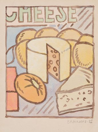 Untitled (Cheese), 1975, watercolor on paper, 12 x 9 inches