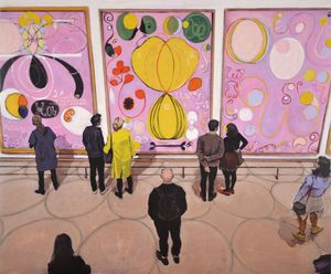 Joe Fig, Hilma af Klint: The Ten Largest, Adulthood #6, 7 & 8/Guggenheim, 2019. oil on linen mounted on MDF board. 18 1/4 x 22 inches.