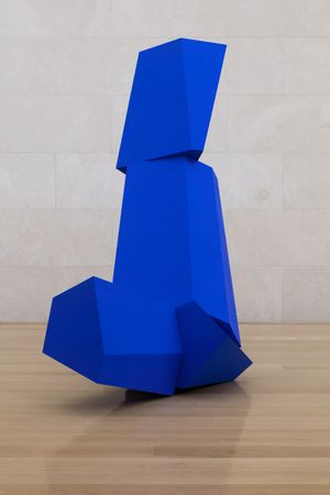Joel Shapiro: Really Blue (after all), 2016 wood and casein 8' 7 x 79 x 50 (261.6 cm x 200.7 cm x 127 cm) Installation view of Joel Shapiro, Nasher Sculpture Center, Dallas, TX, May 7-August 21, 2016. © 2017 Joel Shapiro / Artist Rights Society (ARS), New York. Image courtesy of the artist and Nasher Sculpture Center. Photo by Kevin Todora.