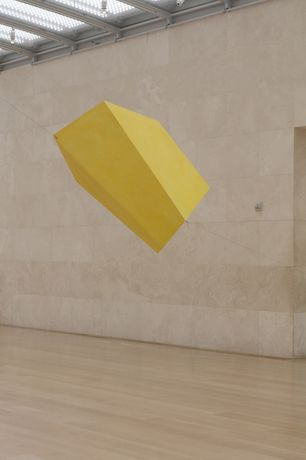Joel Shapiro: Yellow Then, 2016 wood and casein 45-1/2 x 30 x 50 (115.6 cm x 76.2 cm x 127 cm) Installation view of Joel Shapiro, Nasher Sculpture Center, Dallas, TX, May 7-August 21, 2016. © 2017 Joel Shapiro / Artist Rights Society (ARS), New York. Image courtesy of the artist and Nasher Sculpture Center. Photo by Kevin Todora.