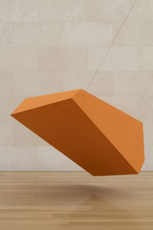 Joel Shapiro: Orange, 2016 wood and casein 84-1/4 x 48 x 42 (214 cm x 121.9 cm x 106.7 cm) Installation view of Joel Shapiro, Nasher Sculpture Center, Dallas, TX, May 7-August 21, 2016. © 2017 Joel Shapiro / Artist Rights Society (ARS), New York. Image courtesy of the artist and Nasher Sculpture Center. Photo by Kevin Todora.