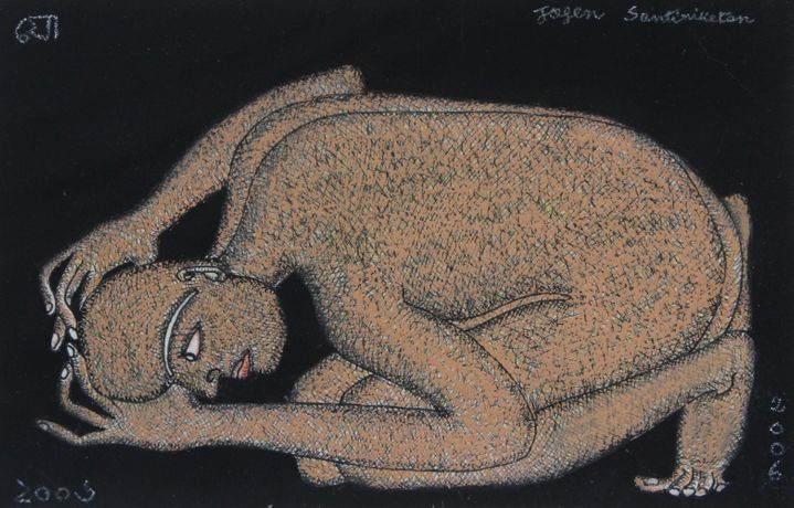 Jogen Chowdhury, Kneeling man,2006, Ink and pastel on paper, 5 x 8 inc, Courtesy of Emami Art and artist