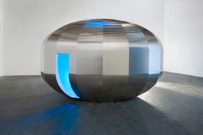 JOHANNES GIRARDONI Metaspace V3, 2013/2018 Aluminium, fiberglass, resin, wood, LEDs, and sensors with Spectro- Sonic Refrequencer, 108 x 168 x 108 inches (274.3 x 426.7 x 274.3 cm), Johannes Girardoni Studio