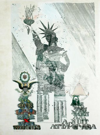 John Furnival 'The Statue of Liberty' 1976, print with added watercolour published by Circle Press. Private collection.