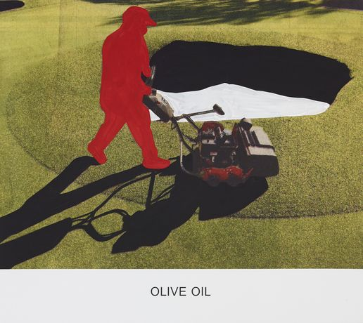 JOHN BALDESSARI: OLIVE OIL, 2015  Varnished inkjet print on canvas with acrylic paint  137.2 x 153.7 x 4 cm  M36.JOB.15399.M