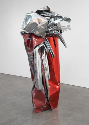 ohn Chamberlain ENTIRELYFEARLESS, 2009 Painted and chrome-plated steel 85 1/2 × 44 1/2 × 42 1/4 inches (217.2 × 113 × 107.3 cm) © 2018 Fairweather & Fairweather LTD/Artists Rights Society (ARS), New York