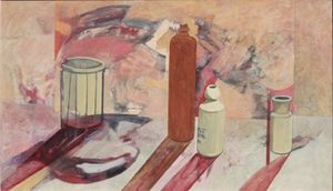 Still Life with a Gin Bottle John Doubleday 1966 oil on canvas 51x86cm