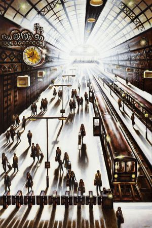 'Another Arrival - King's Cross St Pancras Station' (oil)
