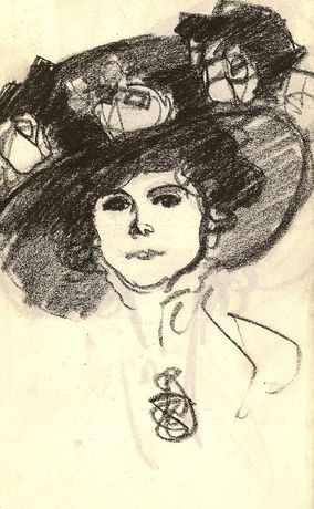 Portrait of a Woman in a Large Hat with Flowers, c.1908
