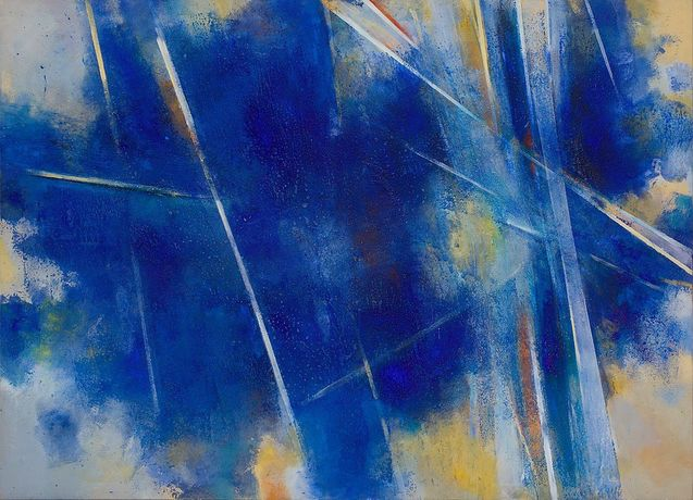 John Golding (1929-2012): 'I. 1 (Splintered Light -Toledo Blue)', 1985 Signed, inscribed and dated on reverse 'I.1 (Splintered Light - Toledo Blue) Golding '85' Acrylic on canvas 152.5 x 208.5 cm 60 x 82 in