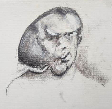 Drawing of John Merrick done while filming Elephant Man in 1980