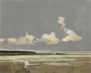 Autumn Beach, Holkham- Acrylic on board by John Newland