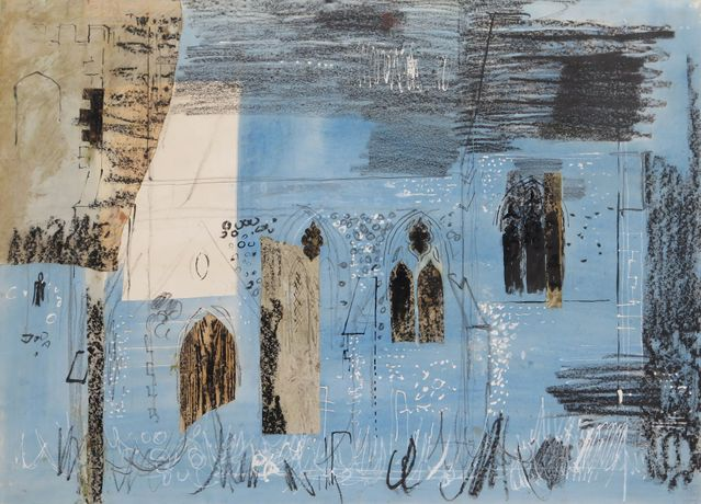 John Piper 'Lewknor' Mixed media and collage