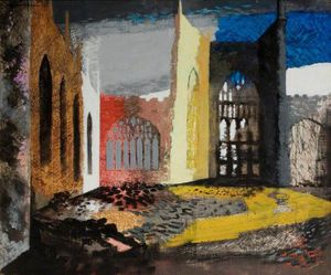John Piper (1903-1992) Interior of Coventry Cathedral, the morning after the Blitz, 1940 Oil on canvas laid on board Herbert Art Gallery & Museum, Coventry, UK / Bridgeman