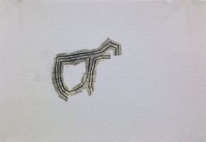 John Plowman, rdhs No.4, 2014, pencil on tape on paper, 39x30cm