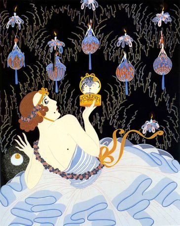 Erté, Stolen Kisses, serigraph, 29 x 24 inches