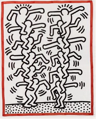 Keith Haring, 1985 (Three Lithographs), hand-signed lithograph, 391/2 x 32 inches