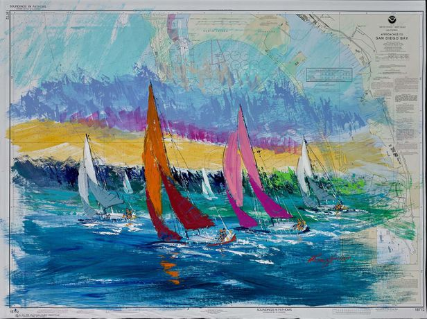 Kerry Hallam, Approaches to San Diego, acrylic on nautical chart, 33 1/2 x 46 1/2 inches