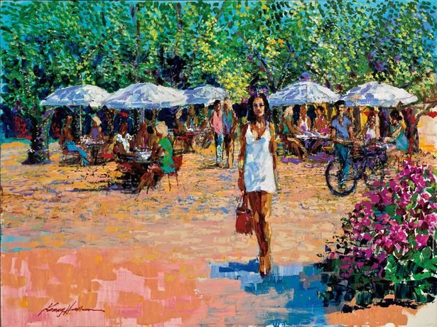 Kerry Hallam, Place des Lices, acrylic on canvas, 30 x 40 inches