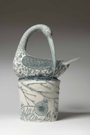 Georgina Warne, Anniversary Curlew, stoneware with hand painted detail, 21.25 x 15.4 x 7.8in/54 x 39 x 19.5cm