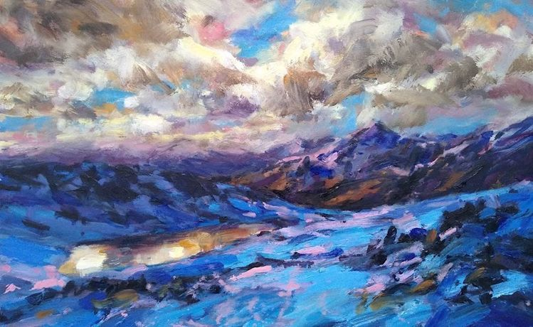 high Lochan Illumination, oil on canvas, 50 x 80cm