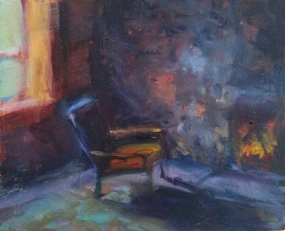 bothy chair, oil on board, 18 x 25cm