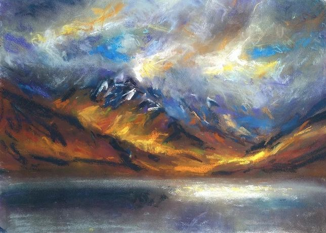 gulvain illumination, rough bounds and loch arkaig, pastel on paper,  5 x 69 cm