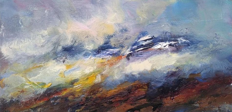 cloud lifting on liathach, oil on board, 23 x 41cm