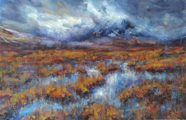 buachaille etive mor reflection,  pastel on paper,  50 x 80cm