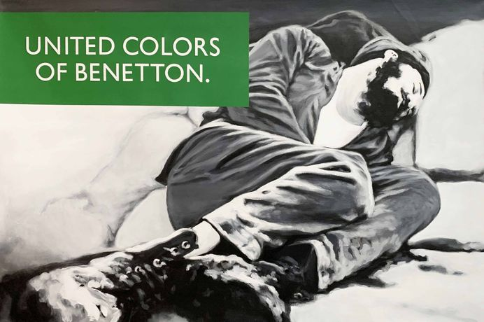United Colors of Benetton, From the Waiting for the Right Time series, 2019. Oil on canvas, 27 x 40 in