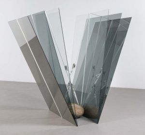 Jose Dávila, Joint Effort, glass, rock, ratchet straps, 188cm x 195cm