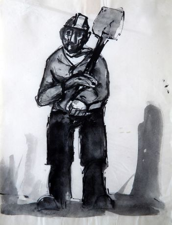 Josef Herman – Miner with shovel: Image 0