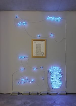 Joseph Kosuth Fetishism Corrected #2, 1988 Cobalt blue neon, mounted directly on the wall, framed photograph 270 x 180 cm, approximately