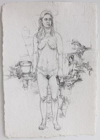 Rosie Standing  Pencil on watercolor paper  17.5 x 12.5 inches  2015-16
