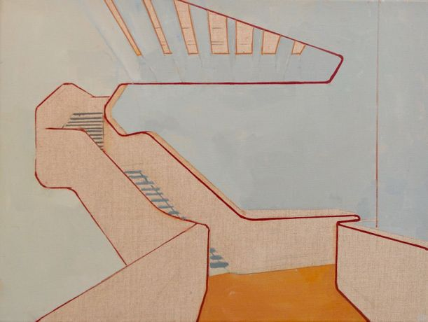 Lee Fether: MAXXI, Zaha Hadid: oil on raw linen, framed: 45 x 60 cm
