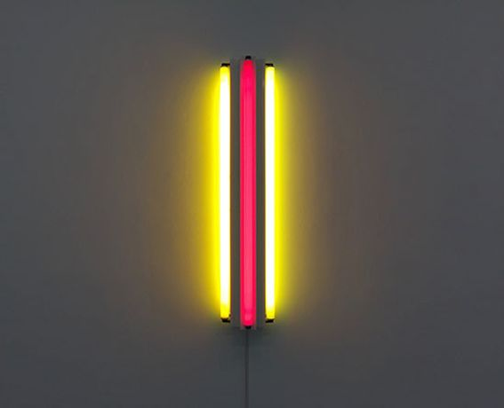 Dan Flavin [1963 ] Three fluorescent tubes. Yellow and red fluorescent light.