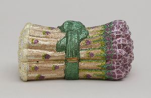 Judith Leiber  Asparagus-shaped minaudière with multicolored crystal rhinestones, 1996    Photo by Gary Mamay; courtesy the Leiber Collection
