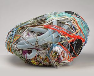 Judith Scott (American, 1943‒2005). Untitled, 2004. Fiber and found objects, 28 x 15 x 27 in. (71.1 x 38.1 x 68.6 cm). The Smith-Nederpelt Collection. © Creative Growth Art Center. (Photo: Brooklyn Museum)