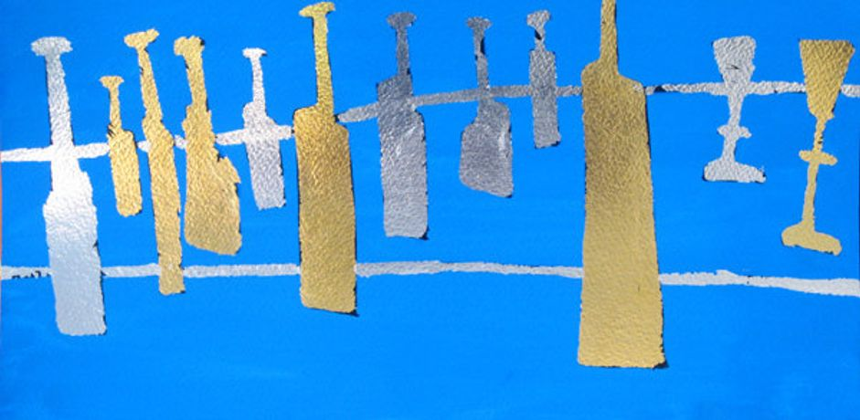 'Bottles & Glasses in Silver & Gold on Blue', gouache, silver & gold leaf  20 x 40cm