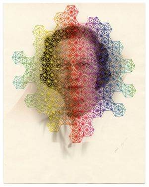 Julie Cockburn, Gamut, 2017, Hand embroidery on found photograph