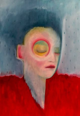 Red Fur Coat by Julie Maginn oil on paper