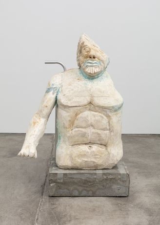 Justin Matherly, Untitled (Fear, Anxiety and Joy), 2016, Modified gypsum, spray paint, aluminum powder, airplane ashtray, concrete, ambulatory equipment, figure: 44 x 34 x 20 1.2 in., base: 8 x 26 x 19 in., sculpture: 52 x 60 x 39 1/2 in.