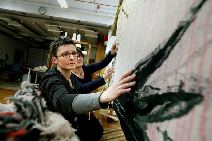 Caron Penney & Katharine Swailes working on a commission for Tracey Emin