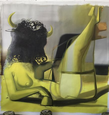 Minotaur, Katherina Olschbaur, 2019, oil on canvas, 200 x 200 cm.