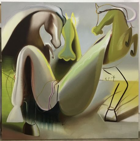Origin (Scene with Horses), Katherina Olschbaur, 2019, oil on canvas, 200 x 200 cm.