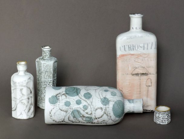 Screen printed porcelain bottles group, Katherine Lees