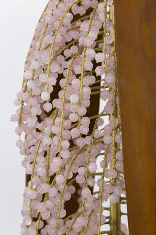 "Diana, 2017, Rose quartz, brass, cast iron, 88"" x 24"" x 24"" (Detail)"